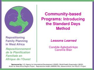 Community-based Programs:  Introducing the Standard Days Method