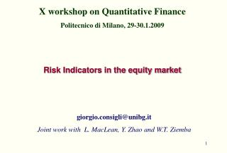 Risk Indicators in the equity market