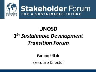 UNOSD 1 St Sustainable Development Transition Forum