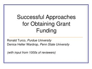 Successful Approaches for Obtaining Grant Funding