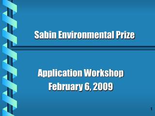Application Workshop February 6, 2009