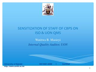 SENSITIZATION OF STAFF OF CBPS ON ISO & UON QMS