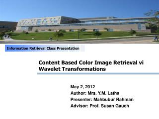 Content Based Color Image Retrieval vi Wavelet Transformations