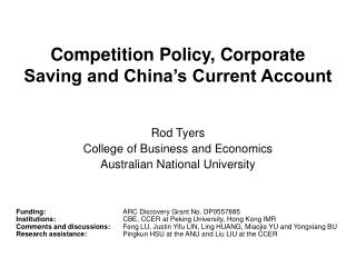 Competition Policy, Corporate Saving and China's Current Account