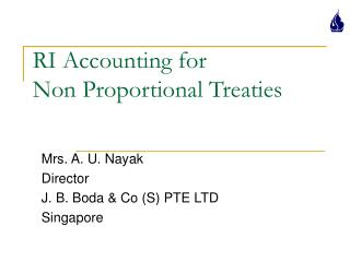 RI Accounting for  Non Proportional Treaties
