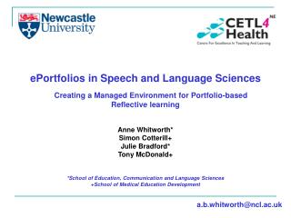 ePortfolios in Speech and Language Sciences Creating a Managed Environment for Portfolio-based