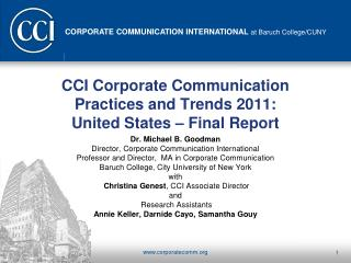CCI Corporate Communication Practices and Trends 2011:  United States – Final Report