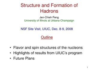 Structure and Formation of Hadrons