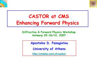 CASTOR at CMS       Enhancing Forward Physics