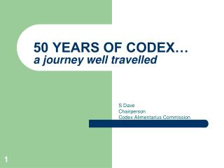 50 YEARS OF CODEX… a journey well travelled