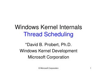 Windows Kernel Internals Thread Scheduling