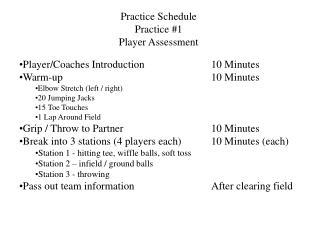 Practice Schedule Practice #1 Player Assessment