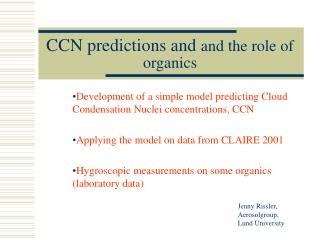 CCN predictions and  and the role of organics