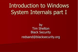 Introduction to Windows System Internals part I