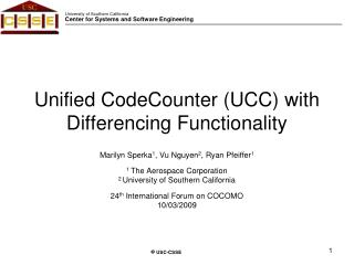 Unified CodeCounter UCC with Differencing Functionality