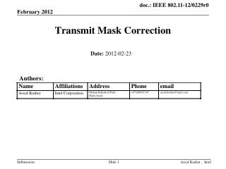 Transmit Mask Correction