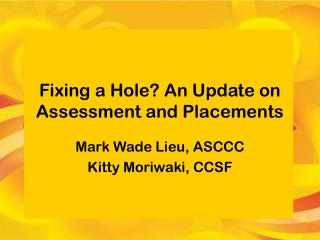 Fixing a Hole? An Update on Assessment and Placements