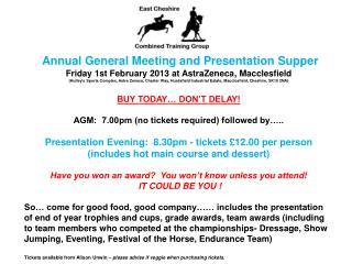 Annual General Meeting and Presentation Supper