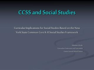 CCSS and Social Studies