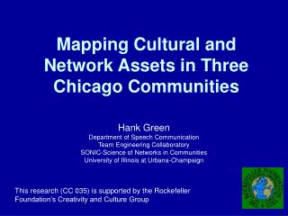 Mapping Cultural and Network Assets in Three Chicago Communities