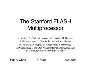 The Stanford FLASH Multiprocessor