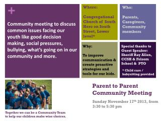Parent to Parent  Community Meeting