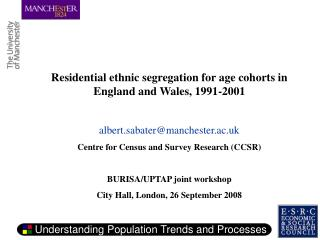 Residential ethnic segregation for age cohorts in England and Wales, 1991-2001