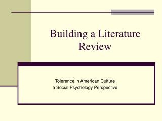 Building a Literature Review