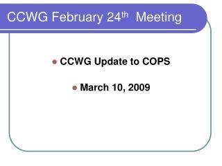 CCWG February 24 th Meeting