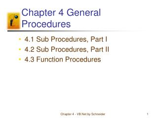 Chapter 4 General Procedures