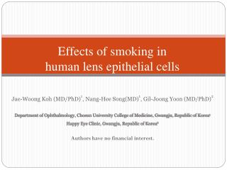 Effects of smoking in  human lens epithelial cells