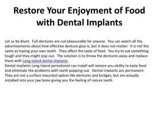Restore Your Enjoyment of Food with Dental Implants