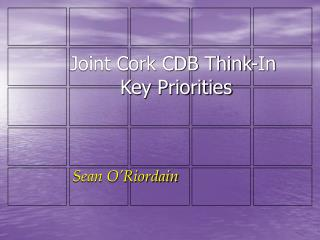 Joint Cork CDB Think-In  Key Priorities