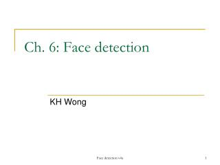 Ch. 6: Face detection