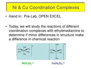 Ni & Cu Coordination Complexes