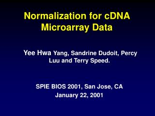 Normalization for cDNA Microarray Data