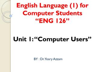 "English Language (1) for Computer Students ""ENG 126"""