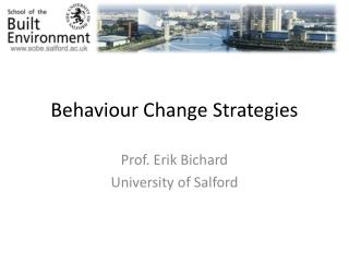 Behaviour Change Strategies