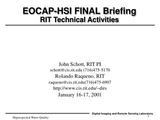 EOCAP-HSI FINAL Briefing RIT Technical Activities