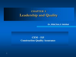 CHAPTER  5 Leadership and Quality