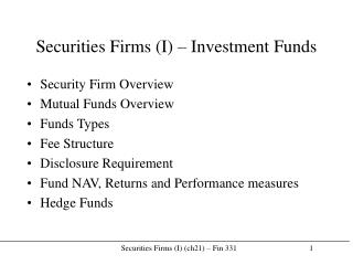 Securities Firms (I) – Investment Funds