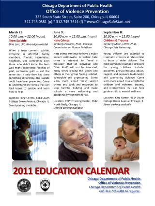 2011 EDUCATION CALENDAR