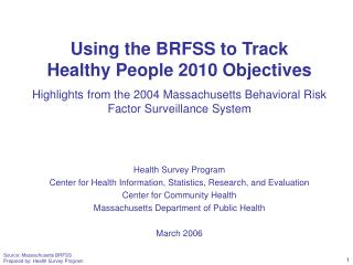Using the BRFSS to Track  Healthy People 2010 Objectives