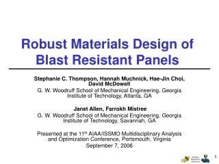 Robust Materials Design of Blast Resistant Panels