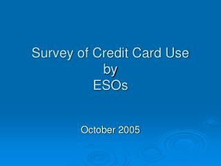 Survey of Credit Card Use