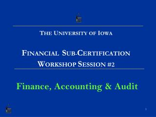 T HE  U NIVERSITY OF  I OWA F INANCIAL S UB - C ERTIFICATION W ORKSHOP  S ESSION #2 Finance, Accounting & Audit