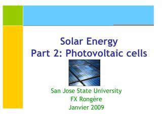 Solar Energy Part 2: Photovoltaic cells