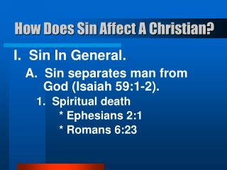 How Does Sin Affect A Christian