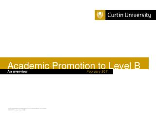 Academic Promotion to Level B