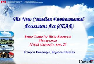 Brace Centre for Water Resources Management McGill University, Sept. 25